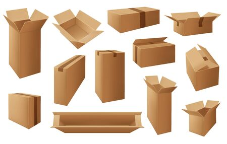 Cardboard or carton boxes, package vector isolated objects. Delivery open and closed mail parcels, shipping packs. Blank corrugated boxes of transportation, shipping and warehouse storage service