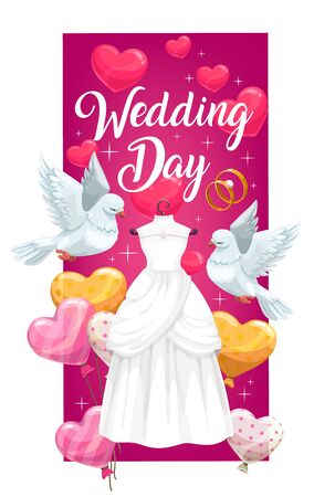 Wedding ceremony bridal dress vector invitation with engagement rings of bride and groom. Wedding gown, red hearts, balloons and white dove birds invite card, decorated with sparkles