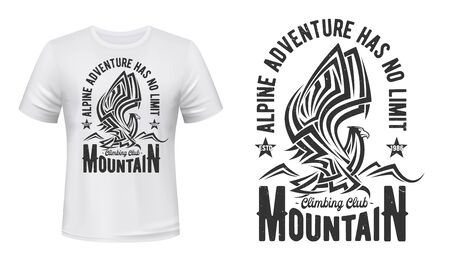 Mountain eagle t-shirt print of hiking or climbing sport club, outdoor adventure and travel vector design. Custom apparel grunge badge of hawk-eagle, bird of prey with raised wings and tribal ornament 矢量图像