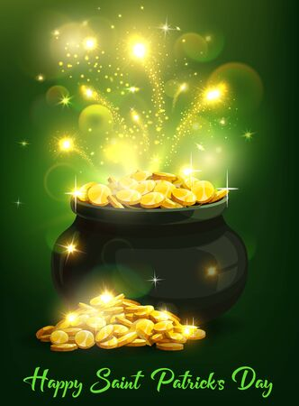 St Patricks Day Irish holiday leprechaun pot with gold vector greeting card. Treasure cauldron of celtic dwarf with lucky golden coins, sparkles and magic light swirls, spring festival of St Patricks