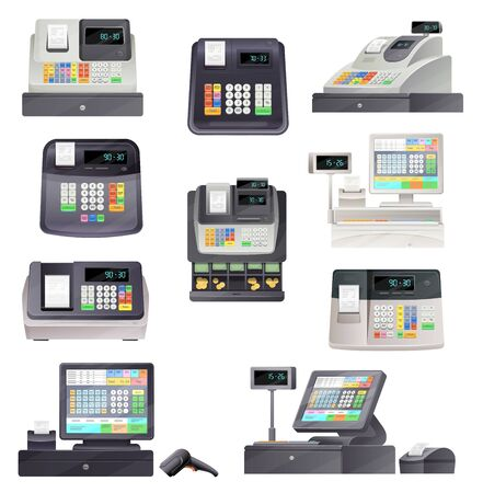 Cash register machine terminal, scanner and checkout counter. Vector retail point and pos terminal sale equipment. Cashiers of store with money boxes, receipt printers, displays and barcode readers