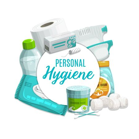 Personal care and hygiene products vector design. Cleansing towel or wet wipe, toilet paper and bottle of micellar water, cotton wool balls, ear sticks or swabs, tampon and diaper