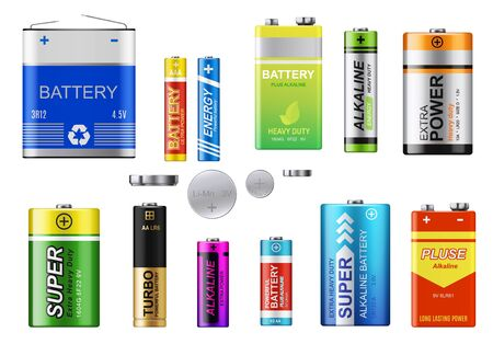 Batteries, accumulators and button cells vector set. Realistic primary batteries of different types. 3d alkaline cylinder, accumulator and coin cells of different sizes Illusztráció