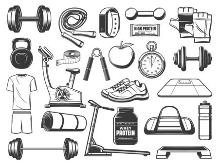 Fitness and gym equipment, sport items vector icons. Dumbbells, barbell and bottle, weight scales, training sneakers and apple, jump rope, stopwatch and kettlebell, tape measure, bike 일러스트