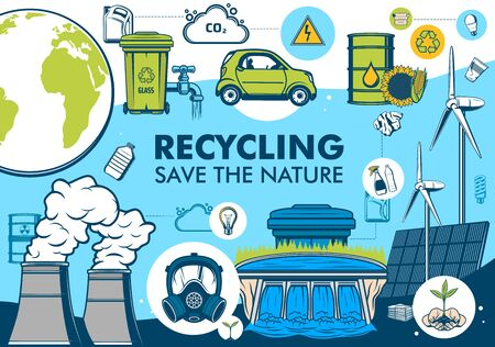 Green energy and garbage recycling, planet earth environment conservation. Save the nature vector poster with alternative energy resources, hydroelectric power plant and solar panel, car and bio fuel