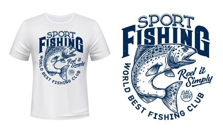 Salmon fish t-shirt print, fishing sport lettering. Vector salmon, ocean animal with spots and curved tail blue badge, custom apparel of fisherman club, fishing camp or competition design 向量圖像