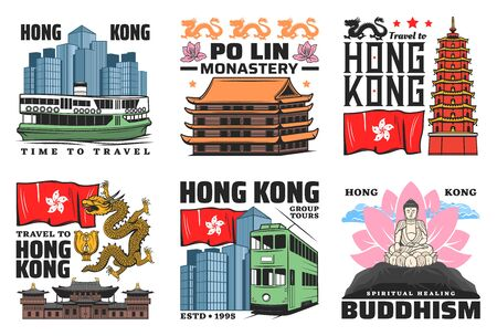 Hong Kong travel landmark buildings vector icons. Tian Tan Buddha, Thousand Buddhas temple tower and Po Lin monastery pagoda, Chi Lin nunnery and double-decker, ferry and dragon