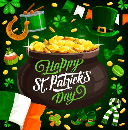 St Patricks Day pot with gold, Irish religion holiday vector design. Green leaves of clover or shamrock, leprechaun treasure cauldron, horseshoe and lucky coins, Ireland flag and St Patricks Day drum