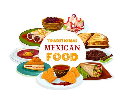 Mexican cuisine, Mexico and Latin America traditional restaurant menu dishes, food cooking recipe book cover. Vector Mexican meat tortilla quesadilla, nachos and salsa, burrito and capirotada pudding