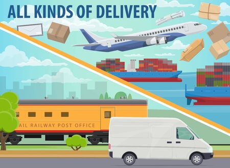 Freight transport and cargo delivery vector design of transportation and shipping service. Truck vehicle, container ship and airplane, train and van with boxes, packages, parcels and letter envelope Ilustração