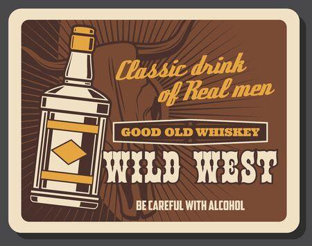 Wild West vintage retro poster, whiskey bar saloon, American Western cowboy pub. Illustration