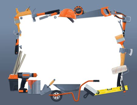 House remodeling and repair notes blank list of work tools. Vector home renovation and construction, handyman carpentry, masonry and woodwork hand tools, drill and saw, paint, hammer and ruler toolkit