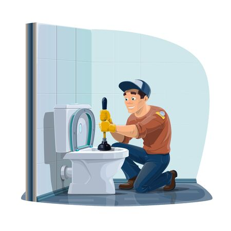 Plumber cleaning toilet sewerage with plunger, home plumbing service. Vector plumber profession, home sewerage pipeline leakage repair, maintenance and cleaning service