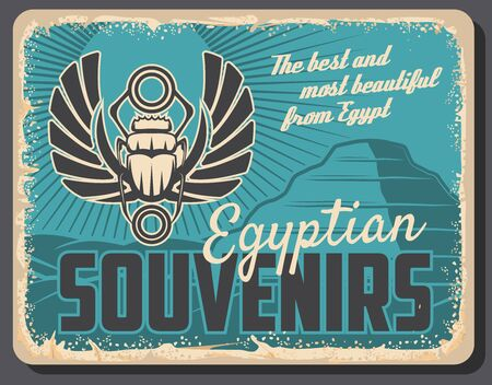 Ancient Egypt, travel souvenirs and historic antiquities shop retro vintage poster.