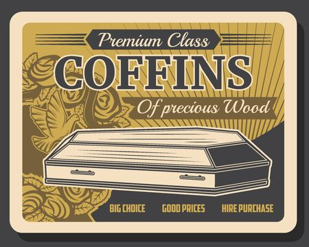 Funeral service company, premium class wood coffins vintage retro poster.