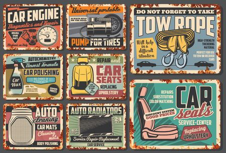 Car service rusty plates and retro posters, auto mechanic garage and automotive maintenance.