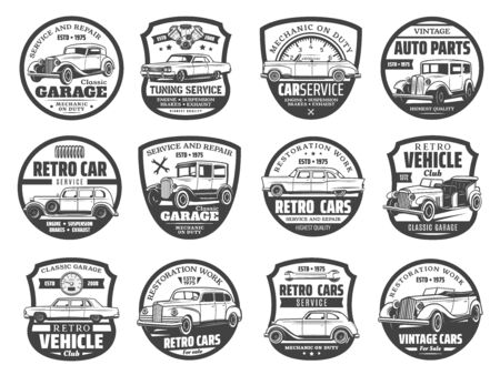 Retro vehicles service, mechanic maintenance and tuning garage station icons.