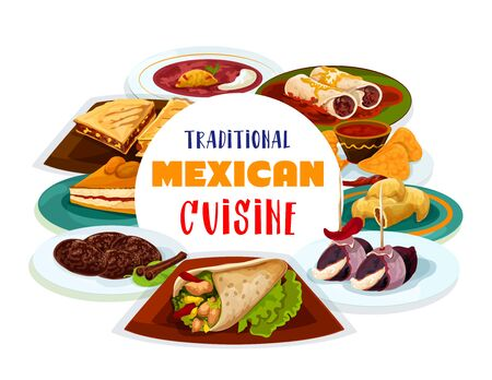 Mexican cuisine food, Latin America traditional dishes. Vector Mexican restaurant menu cover, burrito and empanada or quesadilla, cinnamon cookies, capiotada and beef tortillas with spicy beans