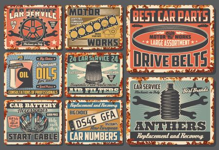 Car service and auto mechanic center rusty plates, retro posters. Vector automotive spare parts shop and garage station, car number plates, engine drive belts, gaskets and wheel anthers