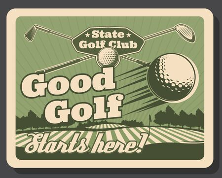 Golf club, premium leisure sport and recreation hobby vintage retro poster. Vector professional golfer players school, golf education and championship tournament, golf ball and stick on putter