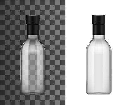 Empty transparent glass bottle with foil bottleneck cap, realistic 3d mockup template. Vectores
