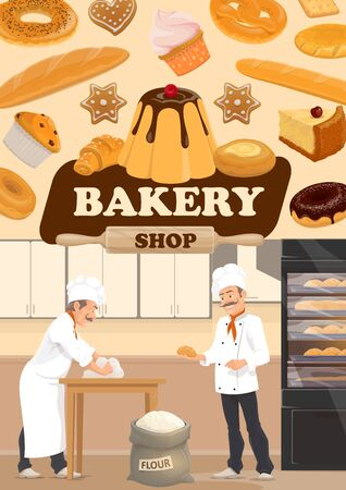 Bakery shop bread, patisserie sweets and pastry desserts.