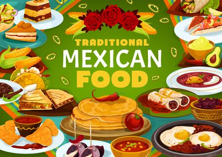 Mexican cuisine, traditional restaurant menu dishes, food cooking recipe book cover. Vector Mexico lunch and dinner meals, meat empanada, salad tacos and capirotada pudding, spicy beans and nachos