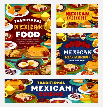 Mexican cuisine traditional food, authentic Mexico restaurant dishes menu. Vector Mexican lunch and dinner meals, nachos and guacamole, tacos, burritos and quesadilla, churros and chili pepper meat Illustration