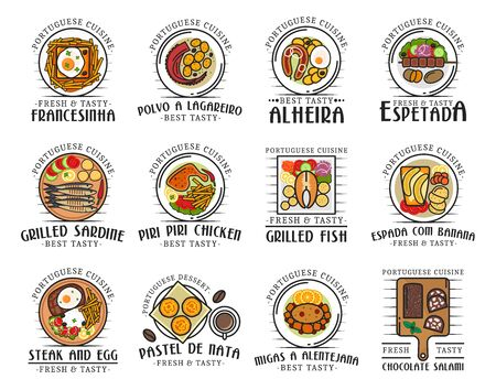 Portuguese cuisine food and traditional authentic meals, restaurant menu icons.