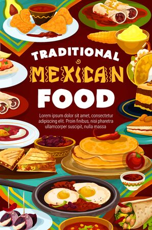 Mexican cuisine restaurant menu, Latin America traditional authentic dishes. Stock Vector - 141463563
