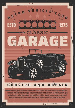 Retro vehicles and classic cars garage, rare vintage automobiles service center.