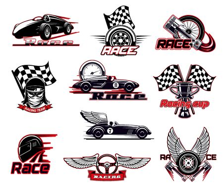 Car race, motor racing isolated vector icons set.
