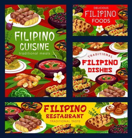 Filipino cuisine asian food vector posters, restaurant dish pochero soup, fried bananas in batter Illusztráció
