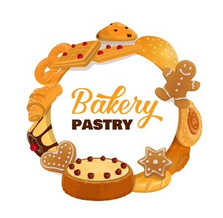Bakery and pastry desserts round frame. Illustration