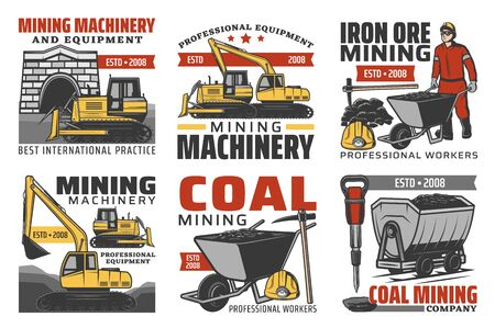Mining industry isolated vector icons set.