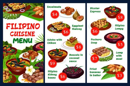 Filipino cuisine restaurant vector menu with meat dishes, vegetables and pastry desserts. Ensaimada, eggplant thalong, adobo with chicken, mussels in coconut sauce, filipino kidney beans, pochero soup