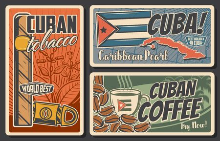 Cuba travel vector retro posters set. Cuban tobacco and guillotine cigar cutter, coffee cup and beans, national flag and silhouette map of Cuba. Tourism and traveling vintage cards