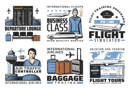 Airport and aviation flight service vector icons.