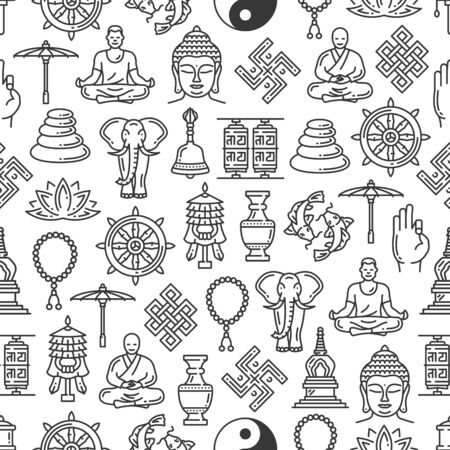 Buddhism seamless pattern, outline vector symbols on white background.