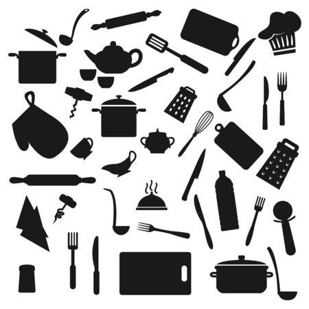 Kitchen utensil, kitchenware black silhouettes Vetores