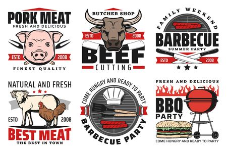 Barbeque meat, bbq icons, isolated vector signs with pork, chicken, mutton and beef sausages on grill.