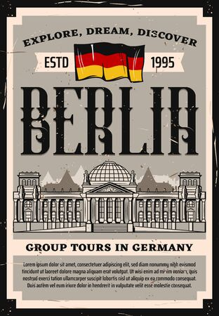 Germany Reichstag travel landmark vector retro poster with Bundestag building and national flag.