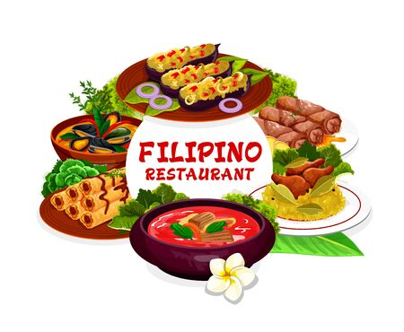 Filipino cuisine restaurant dishes vector round frame. Lump with meat, eggplant thalong, bicolar express, lumpia, mussels in coconut sauce, pochero soup or adobo with chicken. National cuisine
