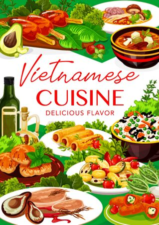 Vietnamese cuisine grilled meat, fish and vegetable rice vector design of Asian food. Noodle mushroom soup, baked pork and beef pho bo, cutlets, chilli peppers and pancake rolls stuffed with cheese