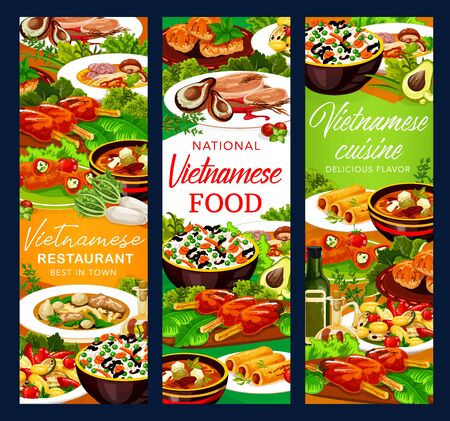 Vietnamese meat and fish dishes with Asian rice and vegetables vector banners. Grilled pork cutlet, baked mackerel and peppers stuffed with cheese, beef pho bo and mushroom noodle soups, pancake rolls