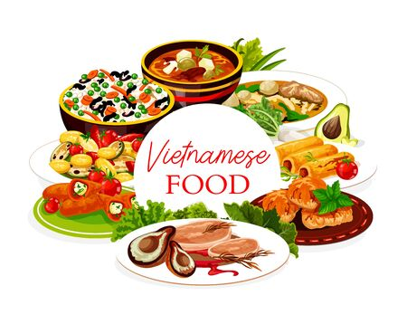 Vietnamese asian cuisine rice, fish and meat food dishes with vegetables.