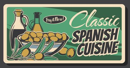 Spanish green olives retro banner of food vector design. Oil bottles, bowls of marinated fruits and olive tree branch with leaves, mediterranean cuisine ingredient of salad dressings and sauces