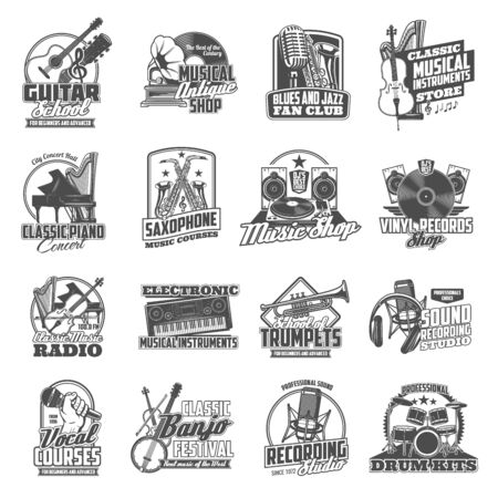 Musical instruments, sound equipment and vinyl music vector icons.