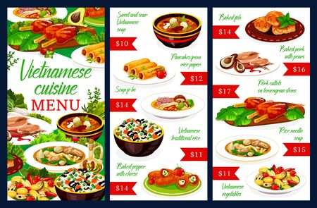 Vietnamese cuisine restaurant menu with meat and fish dishes. Vector vegetable rice, beef pho bo, noodle and sweet sour soups, grilled cutlets, baked pork, stuffed pepper with cheese, pancakes
