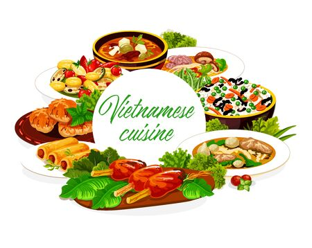 Vietnamese cuisine vegetable rice, meat soup pho bo and baked fish. Noodle and sweet sour soups, grilled pork cutlets and rice pancake rolls frame with spice herbs. Vector round banner